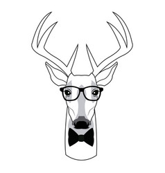 Portrait deer hipster style glasses vector