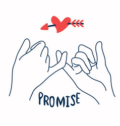 promise outline with red heart in arrow vector image