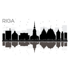 Riga city skyline black and white silhouette with vector