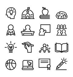 School icon set line vector