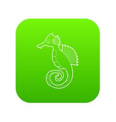 seahorse icon green vector image