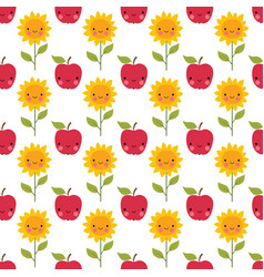 seamless cartoon apples and sunflowers vector image