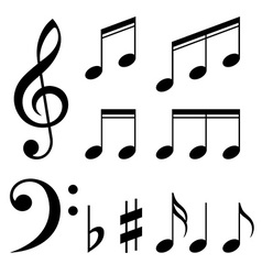 set music notes black and white vector image