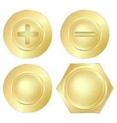 set of golden screws bolts and rivets vector image