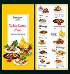 sicilian cuisine healthy dishes menu vector image