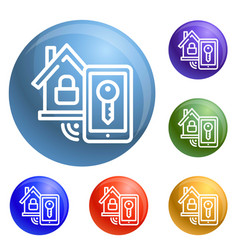 smart house lock icons set vector image