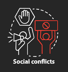 Social conflicts and disputes chalk concept icon vector
