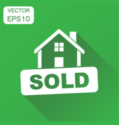 sold house icon business concept sold pictogram vector image