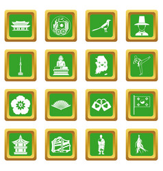 South korea icons set green vector
