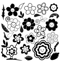 Spring flowers are black and white vector