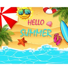 Summer theme with items on the beach vector