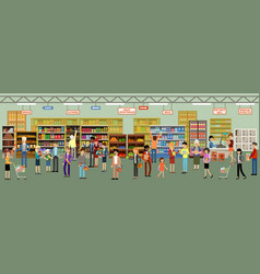supermarket interior with people vector image