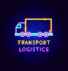 Transport logistics neon label vector