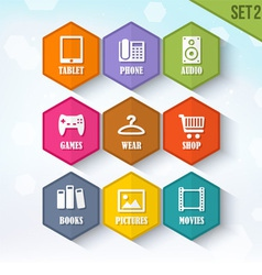 Trendy Rounded Hexagon Icons Set 2 vector image