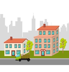 Urban buildings graphic vector image