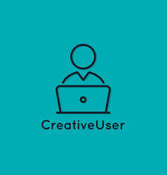 User with laptop icon pc linear avatar vector
