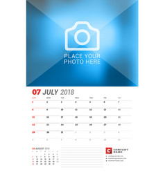 Wall calendar planner for 2018 year july print vector