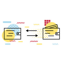 Wallet icon geometric elements memphis money vector