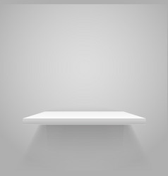 White empty shelf on grey wall mockup vector