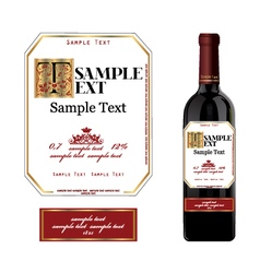 Wine bottle label vector