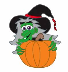 witch behind Jack-o-lantern vector image