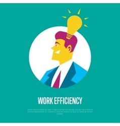Work efficiency banner Side view of businessman vector