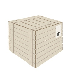 A Wooden Cargo Box on White Background vector image vector image