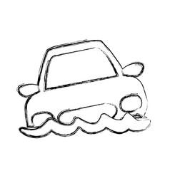 figure flooded car for danger weather vector image vector image