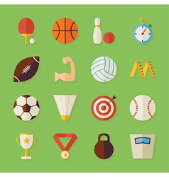 Flat Sport Recreation and Competition Objects Set vector image