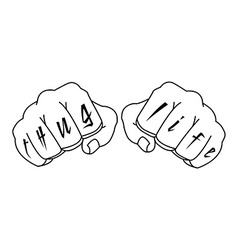 Gangster fists with thug life fingers tattoo vector image