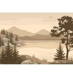 Mountains Landscapes Lake Trees and Birds vector image vector image