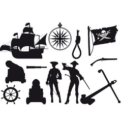 pirate silhouettes vector image