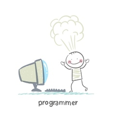 programmer stands next to the computer and vector image vector image