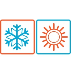 snowflake and sun icons vector image