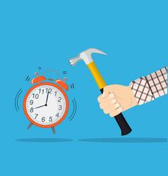 hand hold hammer broking alarm clock vector image