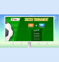 soccer poster with text design on white billboard vector image vector image