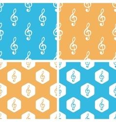 Treble clef pattern set colored vector