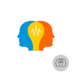 two heads with lamp logo teamwork synergy sign vector image vector image