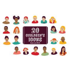 children icons group set vector image