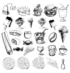 Fast food and drinks collection vector image