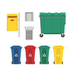 garbage bins and trash cans set vector image