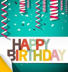Happy Birthday Card with Confetti Retro vector image vector image