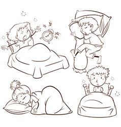 Kids sleeping and waking up vector image