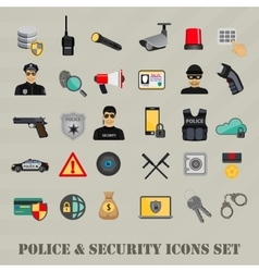 security icons set police law and crime vector image