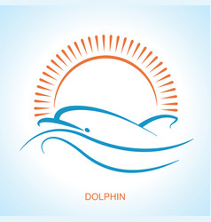 dolphin symbol logo simple style flat vector image
