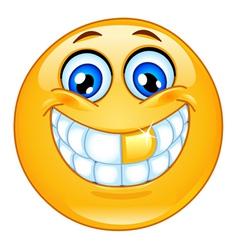 gold tooth emoticon vector image vector image
