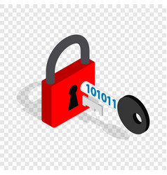 red padlock and key isometric icon vector image