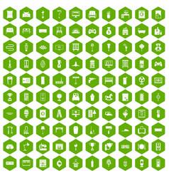 100 home icons hexagon green vector