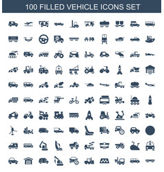 100 vehicle icons vector image