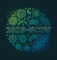 2019-ncov concept outline colored round vector